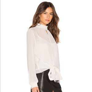 1. State Tops - Long Sleeve Smocked Neck Sheer Check Blouse inEcru